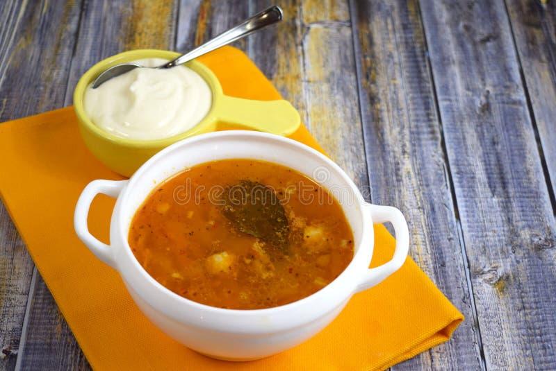 Очень вкусный домодельный суп от свежей капусты стоковые изображения rf