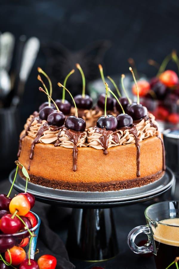Очень вкусный домодельный чизкейк шоколада украшенный с свежим che стоковая фотография