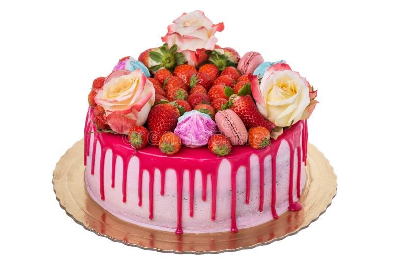 Очень вкусный пестротканый именниный пирог С зефирами стоковые фотографии rf