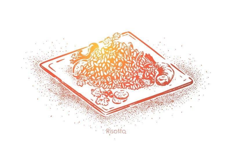 Очень вкусный ризотто, блюдо риса с гарниром овощей, традиционной европейской кухней, национальный варить бесплатная иллюстрация