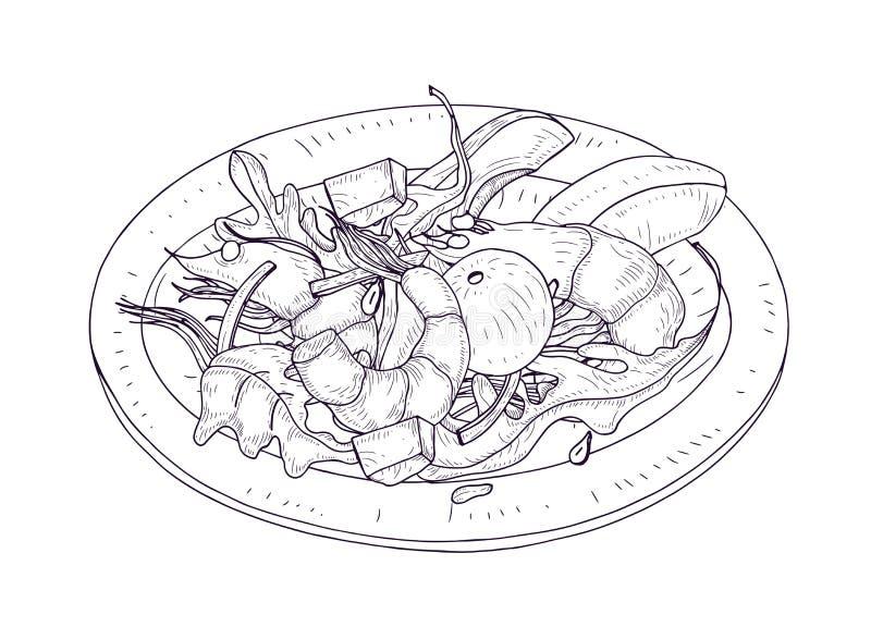 Очень вкусный салат с морепродуктами и овощами на руке плиты нарисованной с линиями контура на белой предпосылке Полезная еда иллюстрация штока