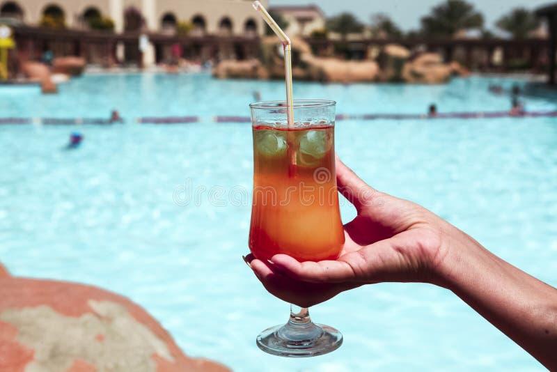 Очень вкусный спиртной секс коктеиля на пляже в женской руке на предпосылке бассейна стоковое изображение