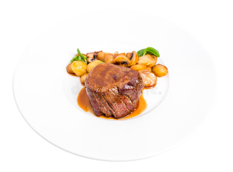 Очень вкусный стейк говядины в соусе demiglas стоковая фотография rf