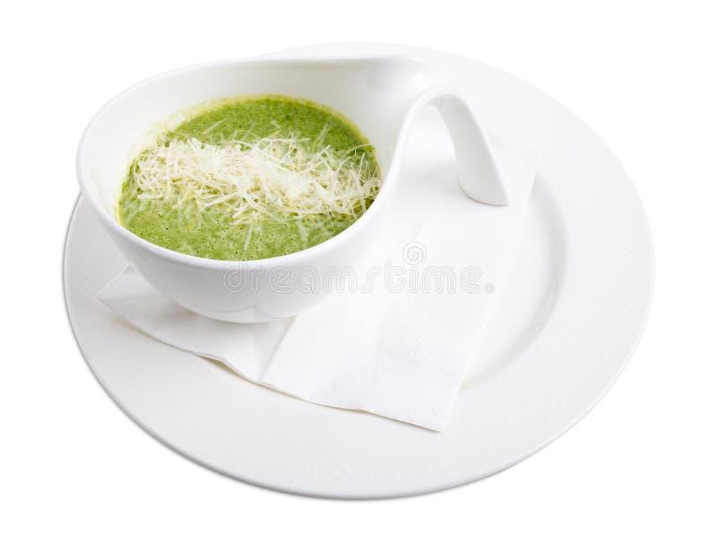 Очень вкусный суп сливк шпината стоковые фотографии rf