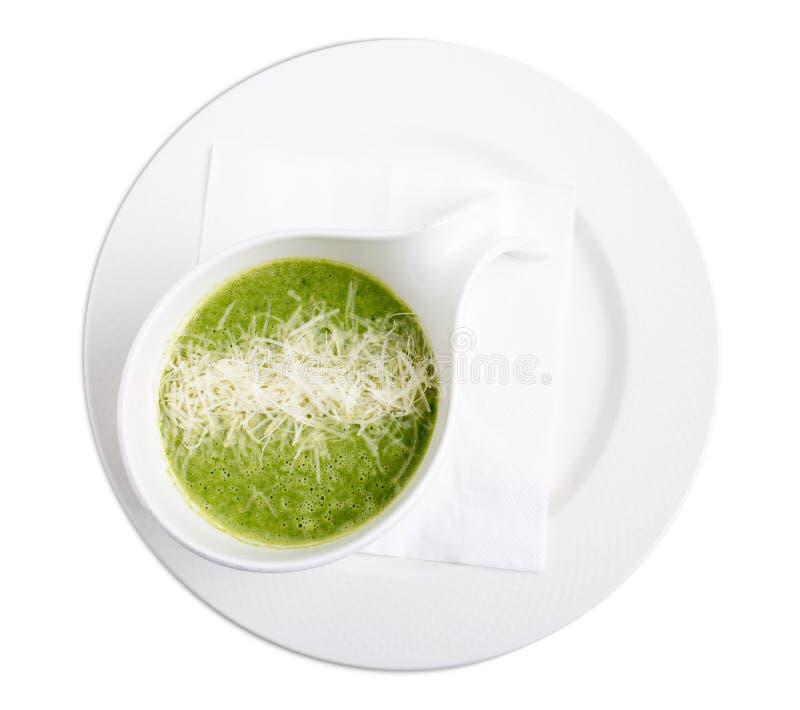 Очень вкусный суп сливк шпината стоковые фото