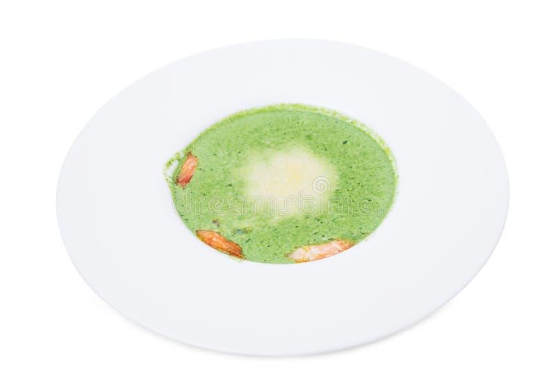 Очень вкусный суп сливк шпината с креветками стоковые фотографии rf