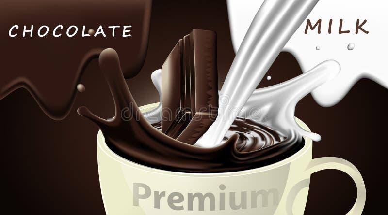 Очень вкусный темный напиток и молоко шоколада с падать в чашку и выплеск на коричневой предпосылке цвета, роскошном десерте иллюстрация штока