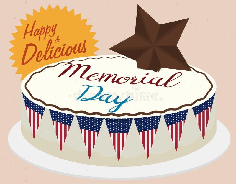 Очень вкусный торт Дня памяти погибших в войнах с гигантской звездой шоколада, иллюстрацией вектора иллюстрация вектора