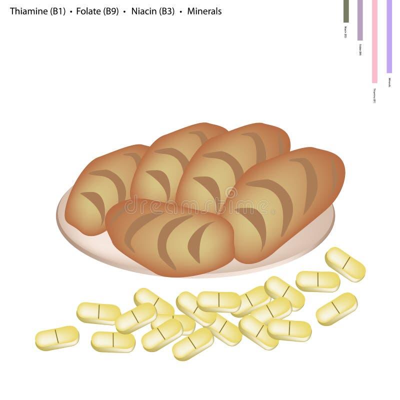Очень вкусный хлеб с Витамином B и минералами иллюстрация вектора