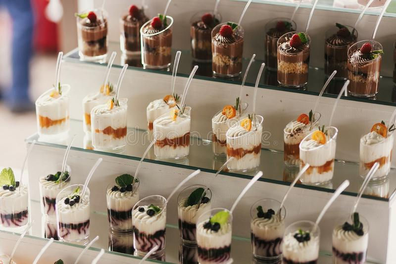 Очень вкусный шоколадный батончик на приеме по случаю бракосочетания Десерты белых и шоколада с плодами и сливк, пирожными на сто стоковые фото