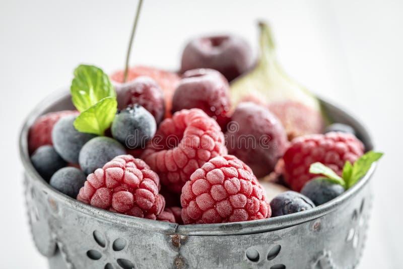 Очень вкусный sorbet мороженого с плодами ягоды и лист мяты стоковые изображения