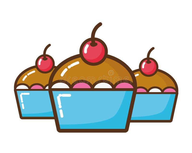 Очень вкусным значок изолированный тортом иллюстрация штока