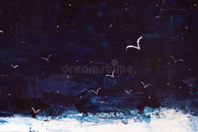 Очень драматический темный pianting моря, неба, чайок в темноте стоковое изображение rf