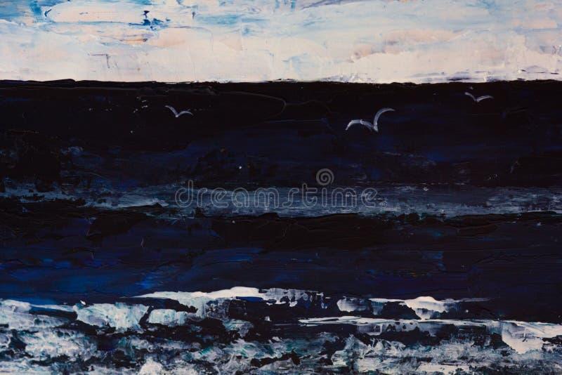 Очень драматический темный pianting моря, неба, чайок в темноте стоковое изображение