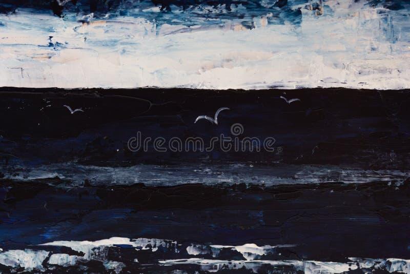 Очень драматический темный pianting моря, неба, чайок в темноте стоковое фото rf
