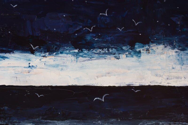 Очень драматический темный pianting моря, неба, чайок в темноте стоковые изображения