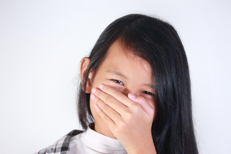 Очень застенчивая азиатская девушка стоковая фотография rf