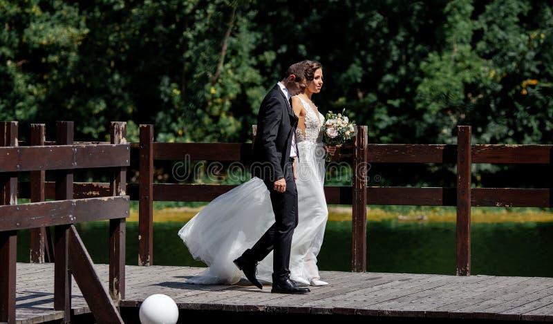 Очень красивая свадьба изумительная пара Милая невеста и стильные холят стоковые фотографии rf