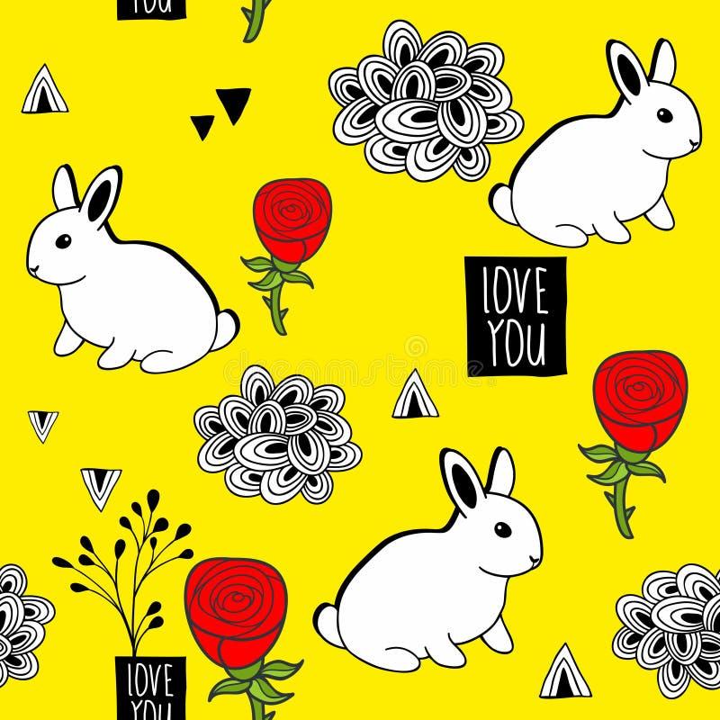 Очень милая безшовная картина с белыми кроликами и романтичным сообщением иллюстрация штока