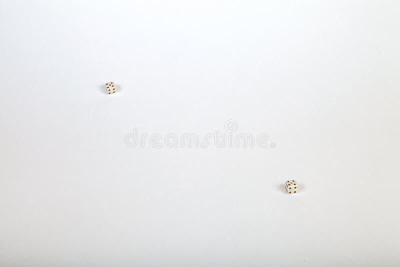 2 очень небольших кости на сторонах большой белой изолированной предпосылки стоковые изображения rf