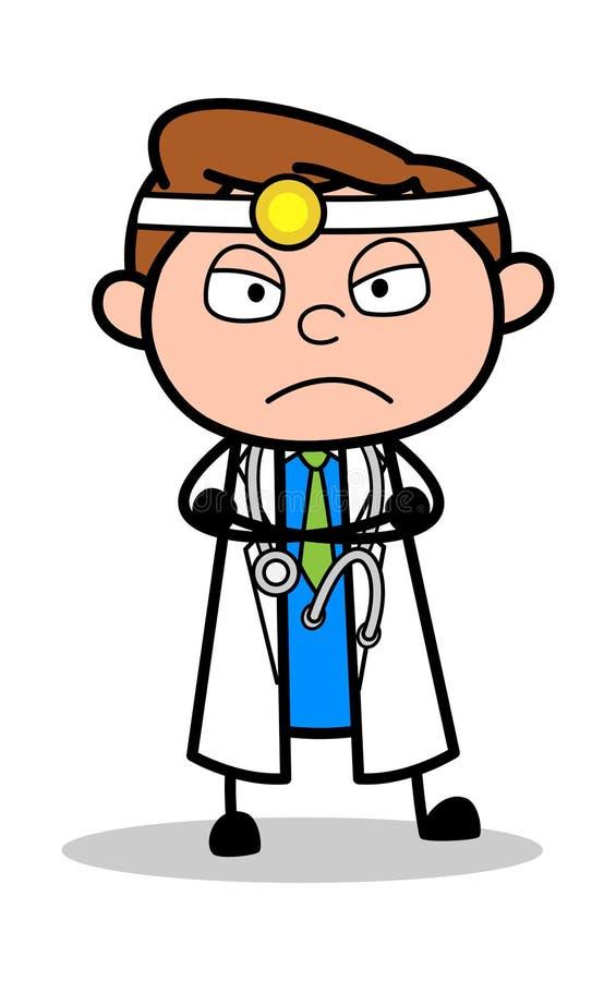 Очень сердитый - профессиональный доктор Вектор Иллюстрация мультфильма бесплатная иллюстрация