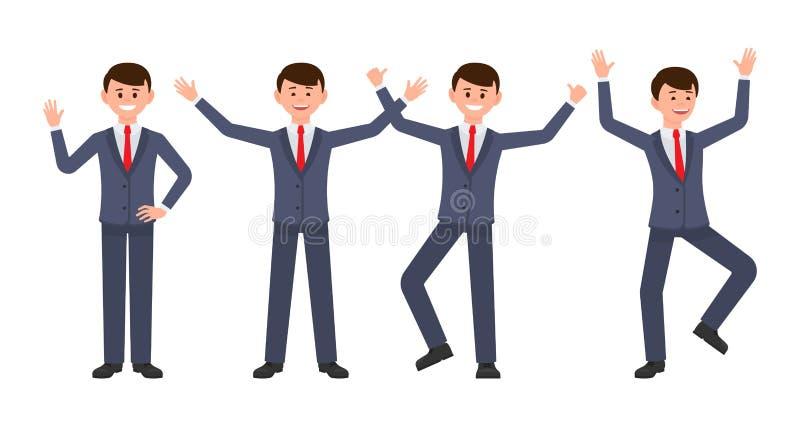 Очень счастливый бизнесмен в персонаже из мультфильма синего костюма Vector иллюстрация умного мужского клерка в различных предст иллюстрация вектора