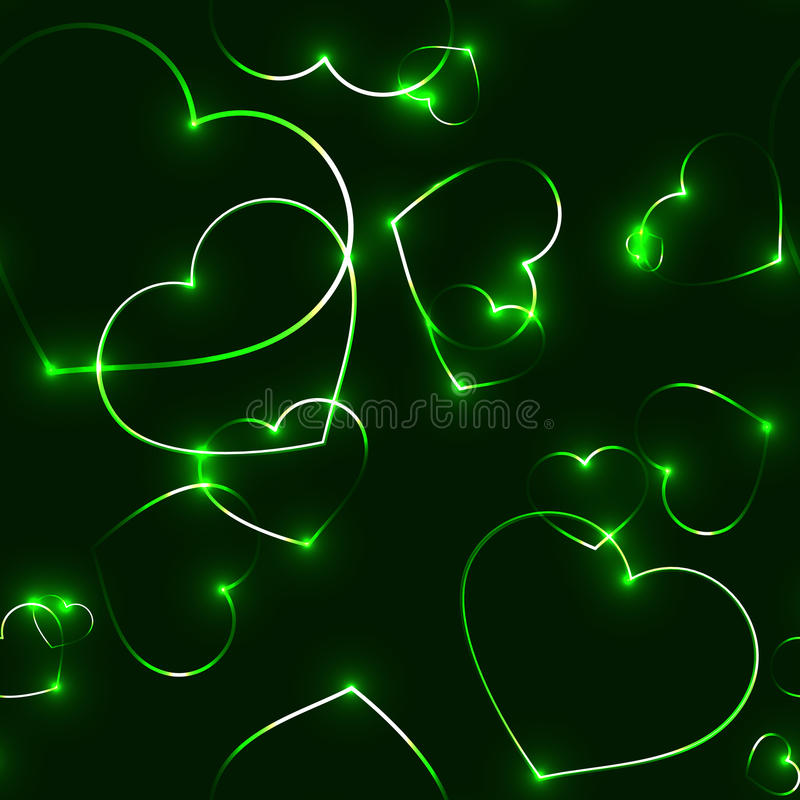 Очень темная безшовная картина с зелеными сердцами лазера иллюстрация вектора