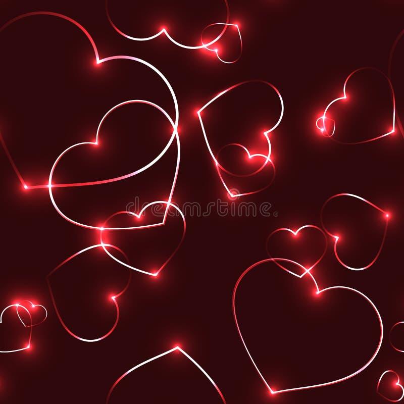 Очень темная безшовная картина с неоновыми сердцами лазера красного цвета иллюстрация вектора
