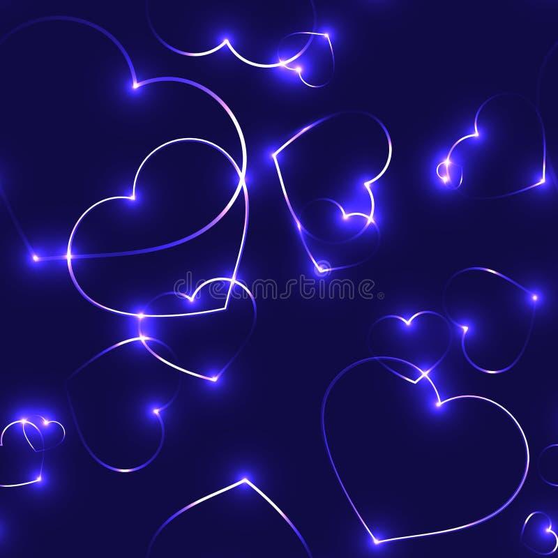 Очень темная безшовная картина с фиолетовыми сердцами лазера иллюстрация вектора