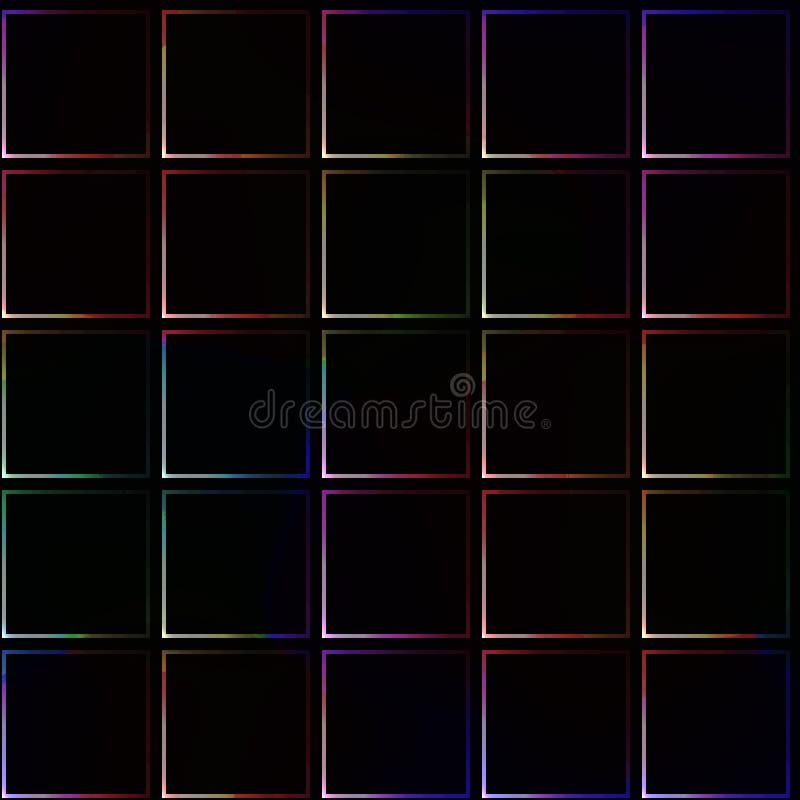 Очень темная безшовная предпосылка с простыми плитками с слегка сияющими границами и углами цвета иллюстрация вектора