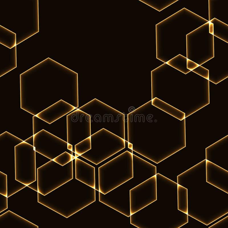 Очень темная безшовная предпосылка с планами шестиугольников золота иллюстрация вектора