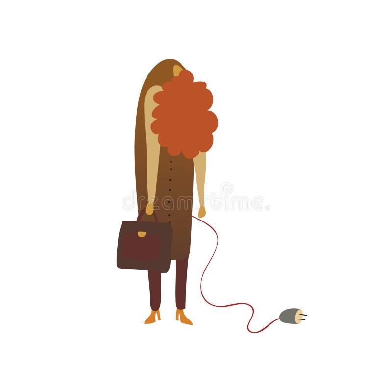 Очень уставшая рыжеволосая женщина r иллюстрация штока