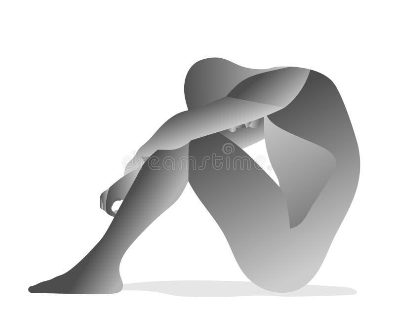 Очень утомленное усаживание человека иллюстрация вектора