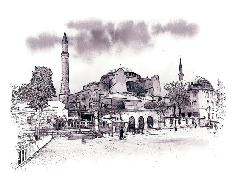 Очередь к музею Hagia Sophia, Стамбулу, Турции Эскиз акварели бесплатная иллюстрация