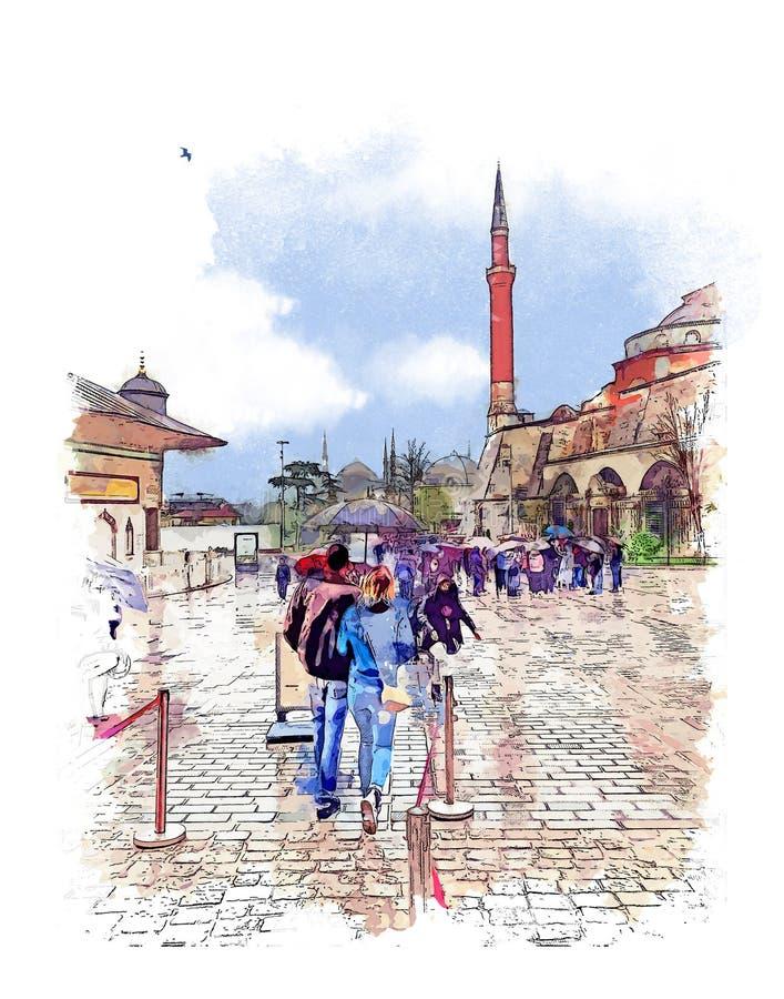 Очередь к музею Hagia Sophia, Стамбулу, Турции Эскиз акварели иллюстрация штока