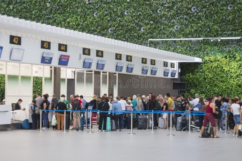Airport check-in queue royalty free stock images