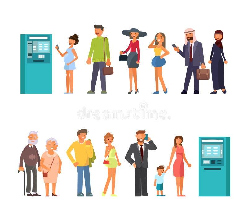 Очередь на ATM иллюстрация вектора