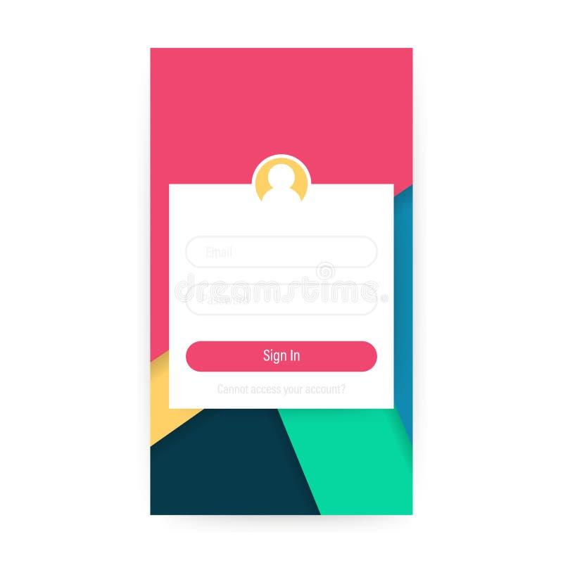 Очистите передвижную идею проекта UI Применение имени пользователя с окном формы пароля иллюстрация вектора