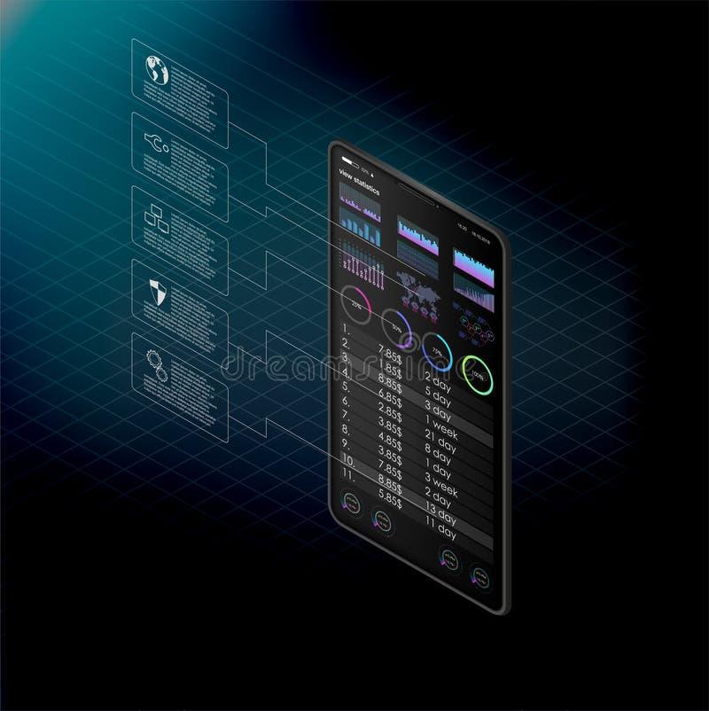 Очистите передвижную идею проекта UI Ультрамодный передвижной банк Технология Cryptocurrency Обмен Bitcoin Финансовый аналитик То иллюстрация вектора