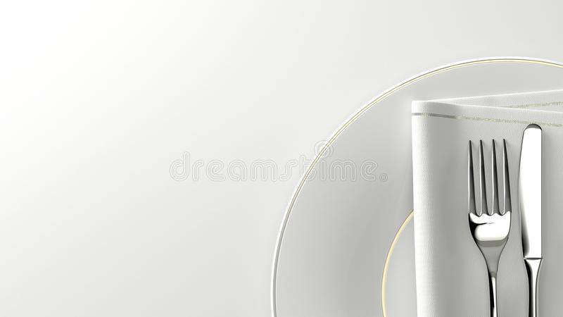 Очистите плиту и таблицу flatware дизайна с пустым космосом перевод 3d иллюстрация вектора