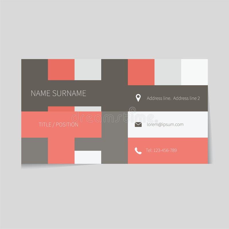 Очистите шаблон визитной карточки в плоском дизайне иллюстрация штока