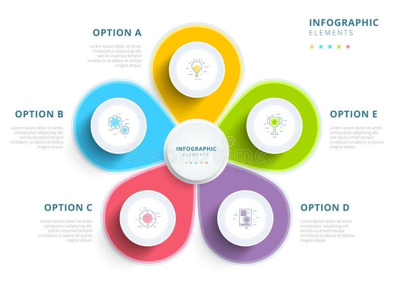 Очистите minimalistic wi infographics технологической карты операций шага дела 5 иллюстрация вектора
