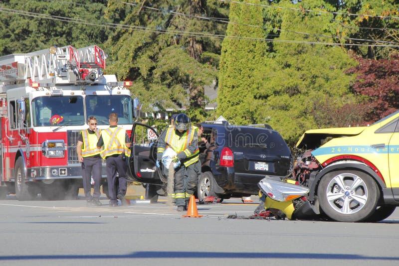 Очищать вверх после автомобильной катастрофы стоковая фотография rf