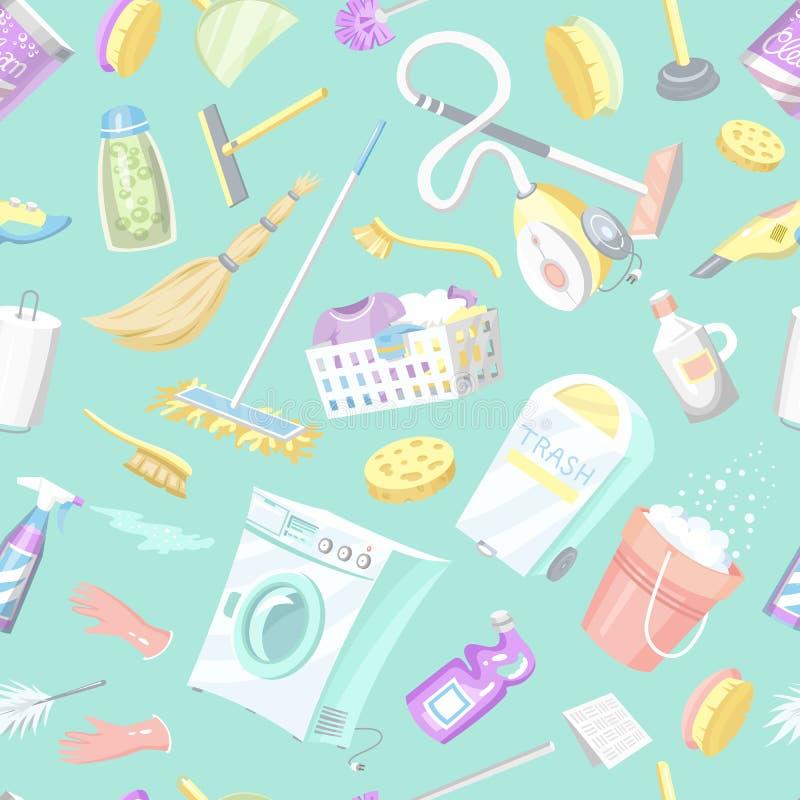 Очищая картина инструментов безшовная Предпосылка значков дома Стиральная машина, тензиды Cleanser, ведро воды для Mopping иллюстрация штока