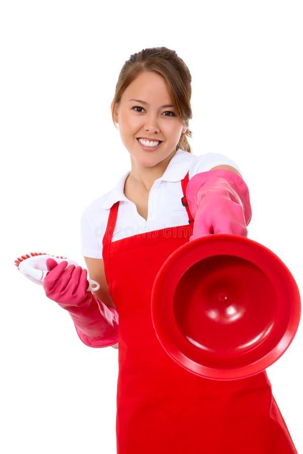 очищая милая женщина туалета горничной стоковое фото rf