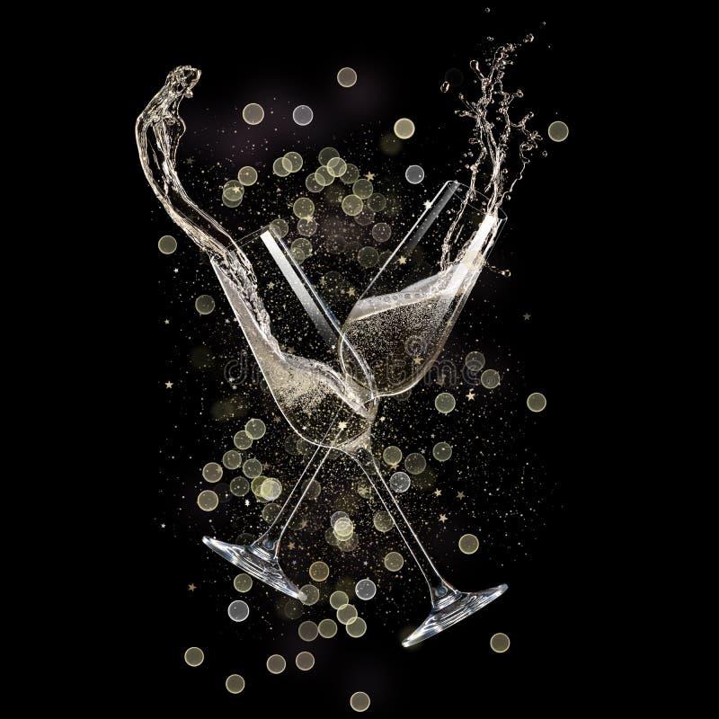 Очки шампанского, тема праздника иллюстрация штока