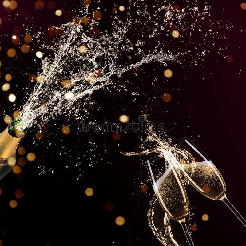 Очки шампанского, тема праздника иллюстрация вектора