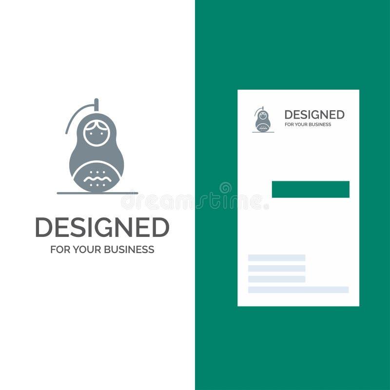 Очковтирательство, граната, Matrioshka, мир, дизайн логотипа России серые и шаблон визитной карточки иллюстрация штока