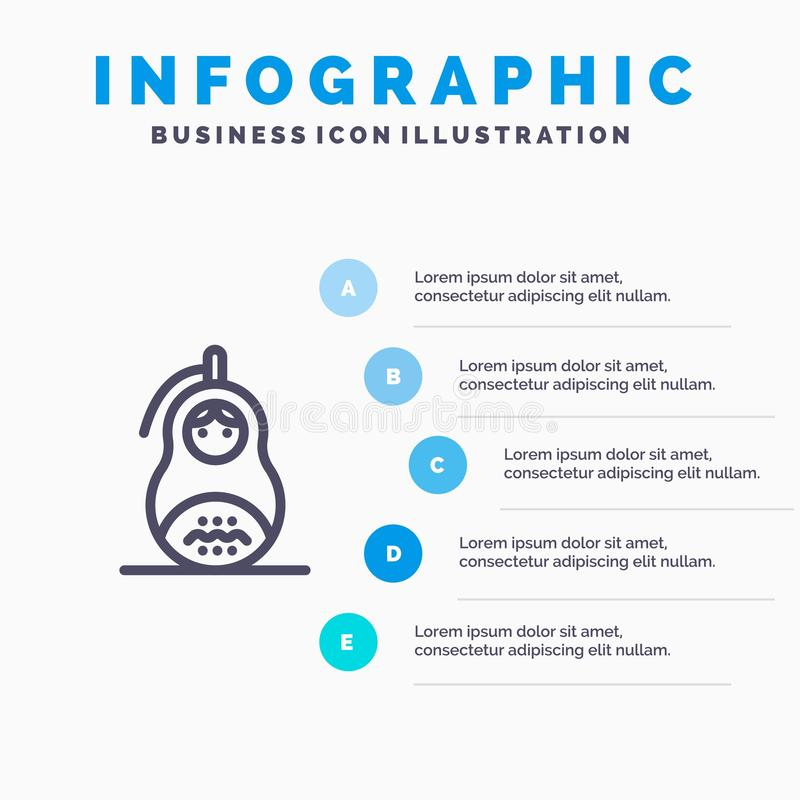 Очковтирательство, граната, Matrioshka, мир, линия значок России с предпосылкой infographics представления 5 шагов бесплатная иллюстрация