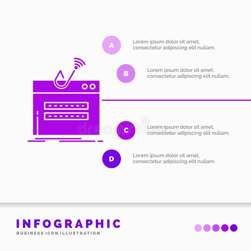 очковтирательство, интернет, имя пользователя, пароль, шаблон Infographics похищения для вебсайта и представление r иллюстрация штока